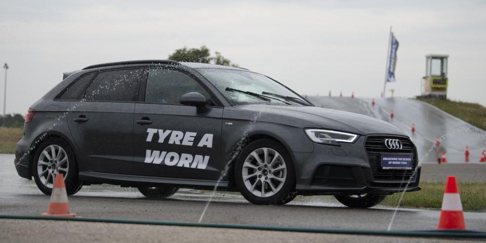 Audi A3 jazda mokry tor wyścigowy Michelin Wieden